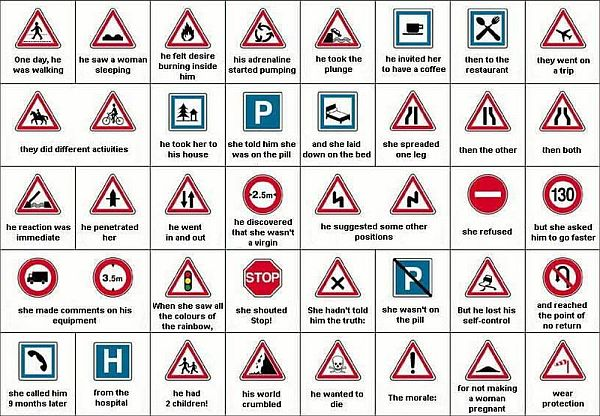 Love story in traffic signs