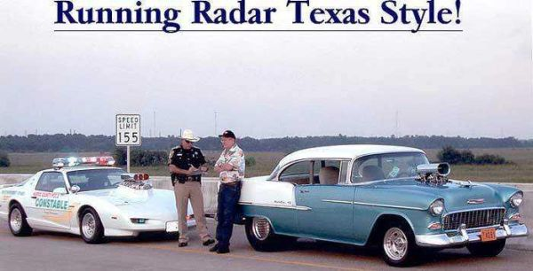 Car Humor Joke Funny Muscle Car Auto Running Radar Texas Style Speed