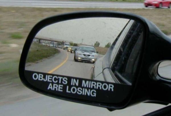 Car humor funny joke rearview mirror warning objects are for Mirror jokes