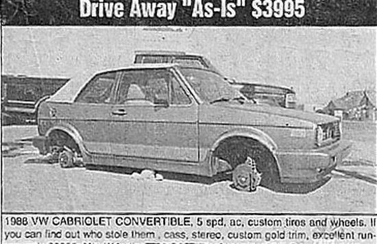 """Image result for vehicle sold """"as is"""" funny ad"""