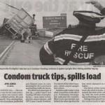 Condom Truck Tips, Spills Load