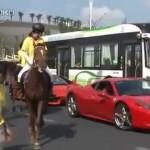 Horse kicks Ferrari 458