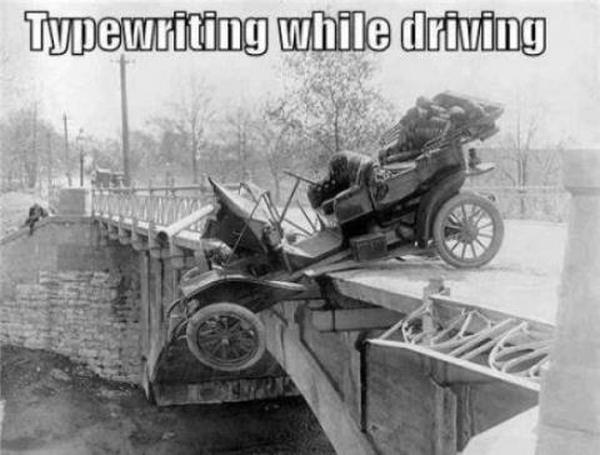 Typewriting While Driving - Car humor