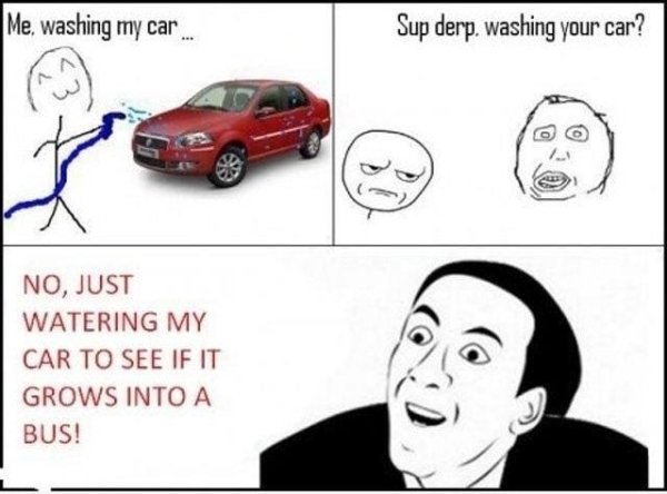 Sup Derp, Washing Your Car? - Car humor