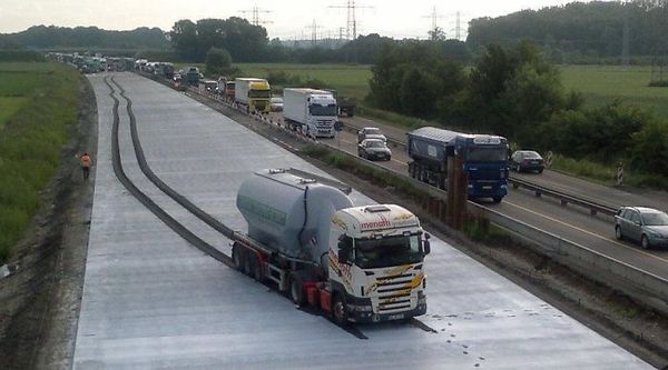 Truck Drove Into Fresh Concrete