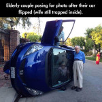 Elderly couple posing for photo