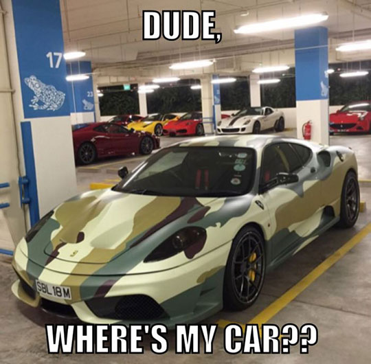 funny-car-camouflage-Ferrari-parking-lot